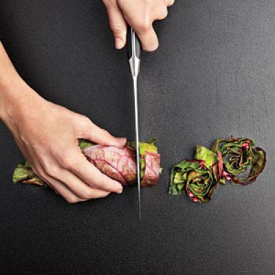 Cutting chard into ribbons