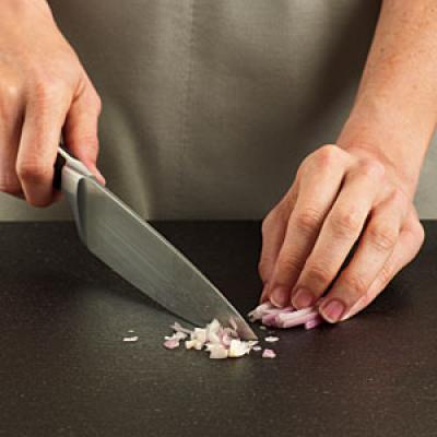 How to Mince Shallots: Step Four: Cut Across Slices