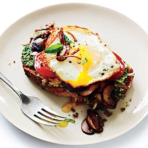 Open-Faced Sandwiches with Mushrooms and Fried Eggs