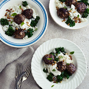 Lamb Meatballs with Kale, Cumin Yogurt, and Carolina Gold Rice ...