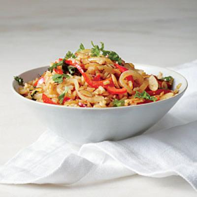Fried Brown Rice with Red Pepper and Almonds