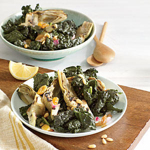 Kale Salad with Grilled Artichokes