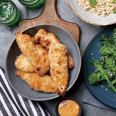 Coconut Chicken Strips and Basmati Rice