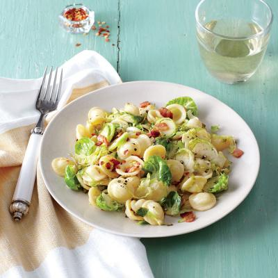 Pasta with Bacon, Shredded Brussels Sprouts, and Lemon Zest ...