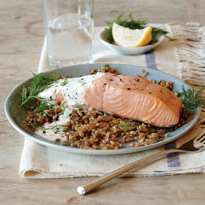 Broiled Salmon with Creamy Lemon-Dill Sauce - Lemon Recipes - Cooking ...