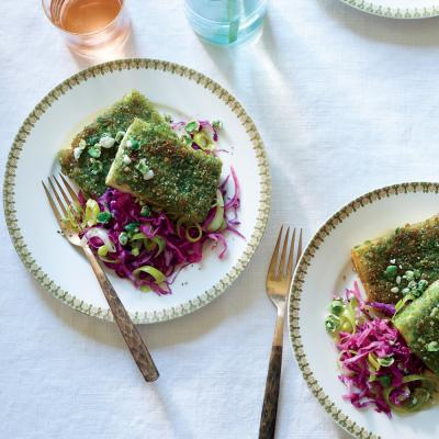 Wasabi Pea Tofu with Red Cabbage Leeks - 5-Ingredient Summer Recipes ...