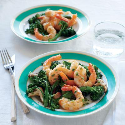 ... Shrimp with Mushrooms, Broccolini, and Foaming Chive Butter Sauce