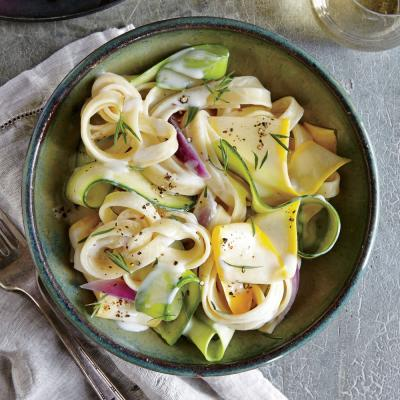 Squash Ribbon Pasta with Herb Cream Sauce - Healthy Pasta Dinner ...