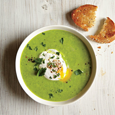 Green Pea and Asparagus Soup with Poached Eggs and Toast - Healthy Egg ...