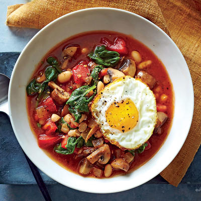 White Bean & Vegetable Bowls with Frizzled Eggs