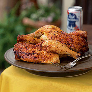 Beer-Can Chicken with Cola Barbecue Sauce
