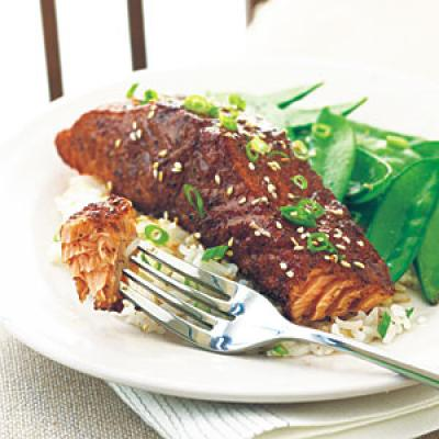 Grilled Salmon with East-West Spice Rub and Orange-Soy Glaze