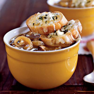 Earthy shiitake mushrooms and pungent cheese toasts give this soup ...