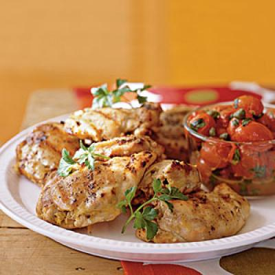 Grilled Chicken Thighs with Roasted Grape Tomatoes - Heart-Healthy ...