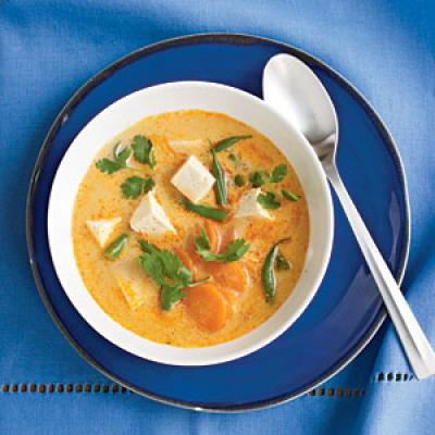 Fiery Tofu and Coconut Curry Soup Vegetarian Recipe