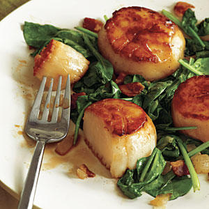 Pan-Seared Scallops with Bacon and Spinach - Scallop Recipes - Cooking ...