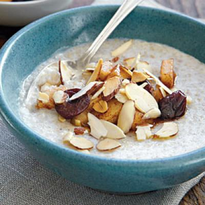 Sweet Almond Cream of Buckwheat with Skillet Pears
