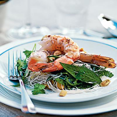 Tiger Prawn, Noodle, and Herb Salad
