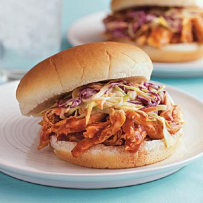 Pulled Barbecue Chicken and Coleslaw Sandwiches - Family Dinner ...