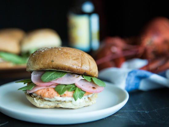 Lobster Patty Sliders with Pickled Radishes & Tarragon Mayo