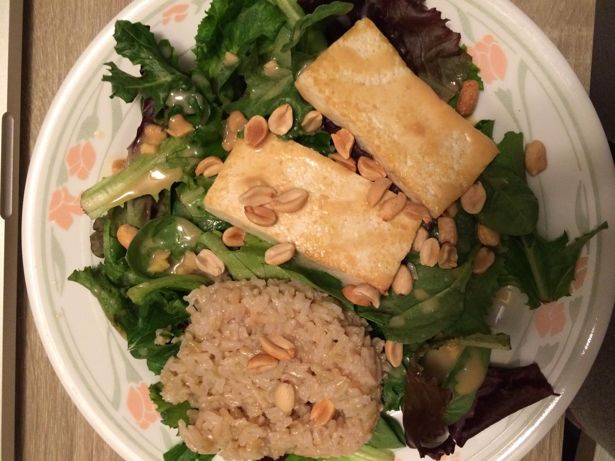 1706w Pan crisped tofu with greens and peanut dressing