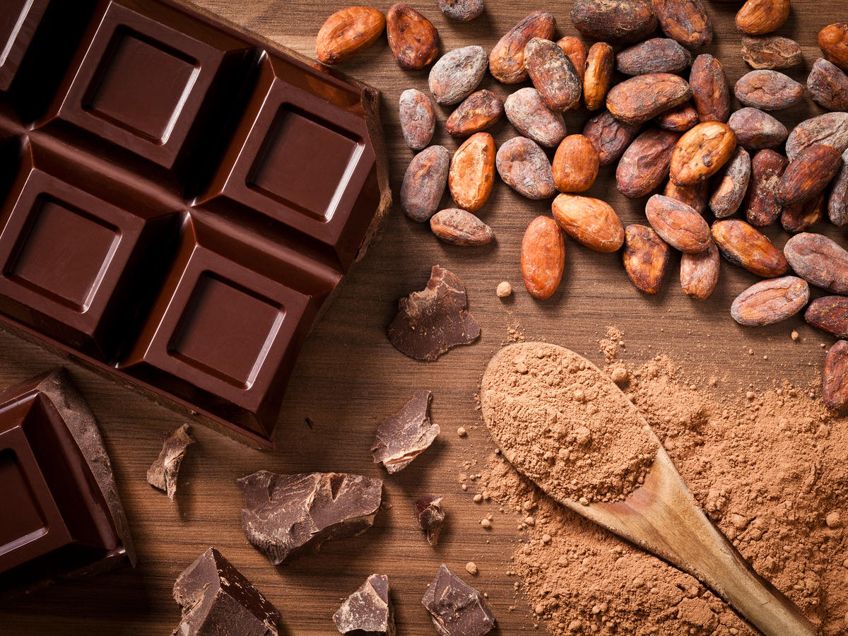 Getty Chocolate Bar and Cocoa Beans