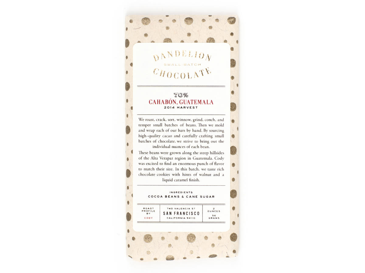 Dandelion Single Origin Chocolate Bar Guatemala