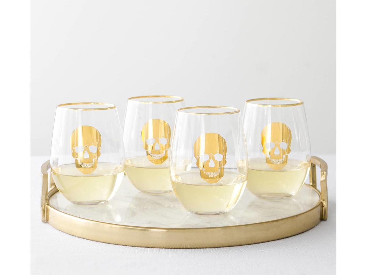 1708w Skull Wine Glasses