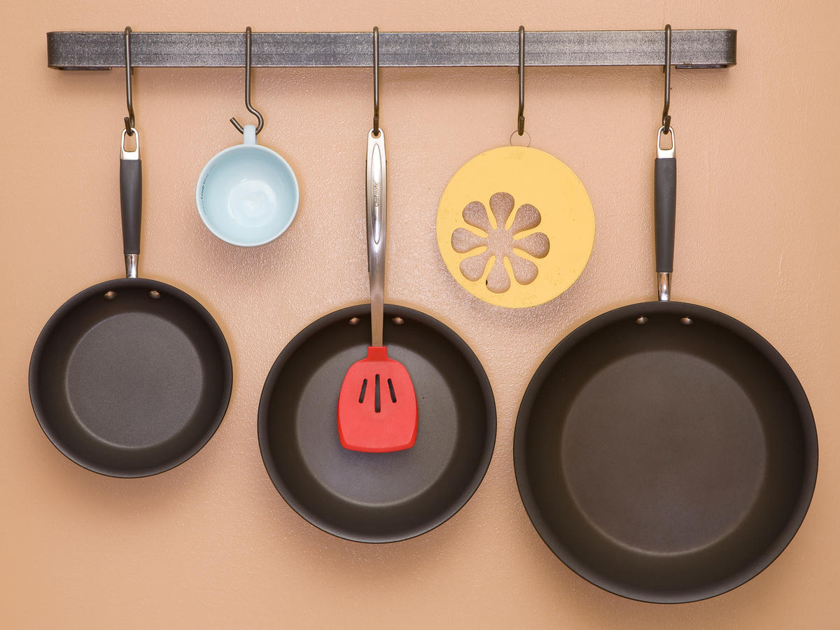 Hanging Pans in Kitchen