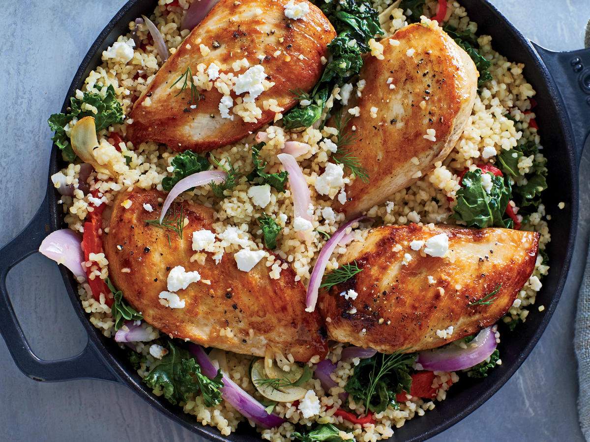 Mediterranean Chicken and Bulgur Skillet2