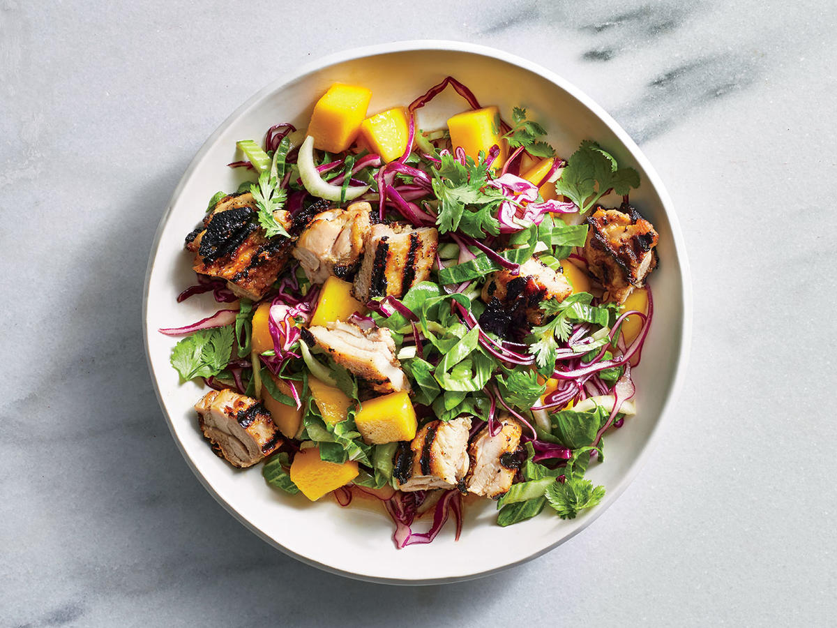 Tahini Chicken with Bok Choy and Mango Salad
