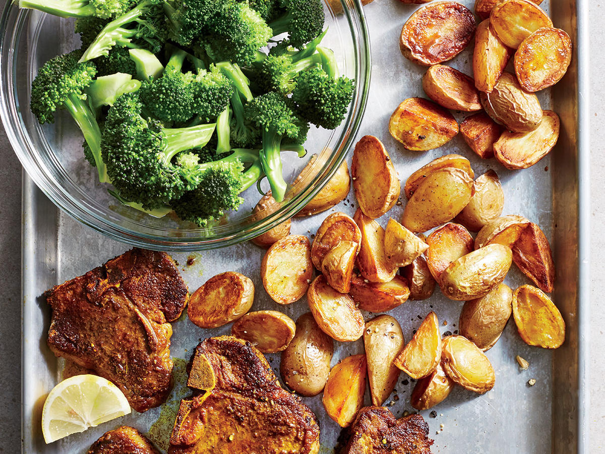 Turmeric Lamb Chops with Crispy Potatoes and Broccoli