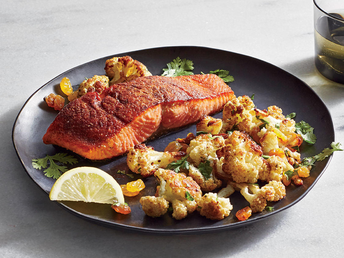 Tuesday: Spice-Roasted Salmon With Roasted Cauliflower
