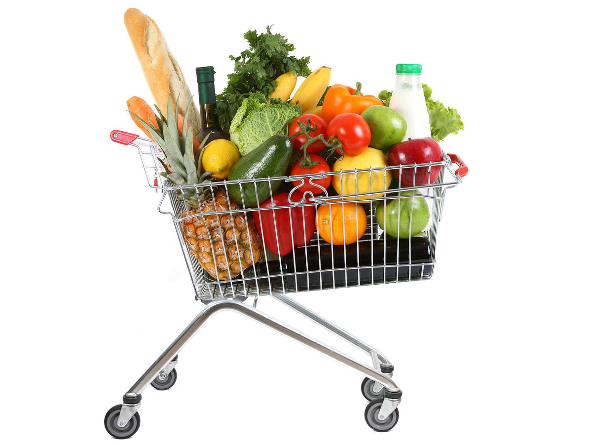 Full Shopping Cart with Healthy Foods