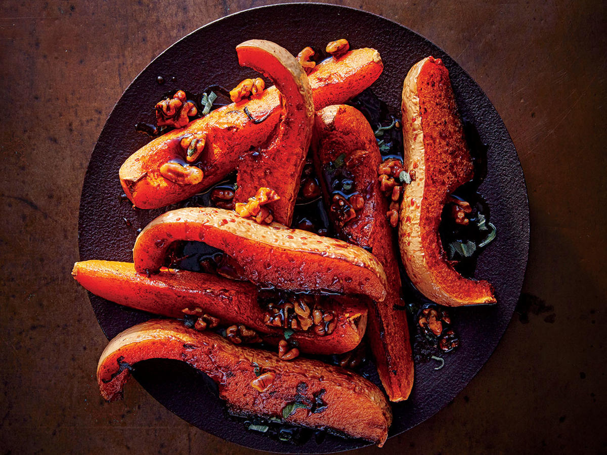 Roasted Butternut Squash with Sticky Walnut Topping