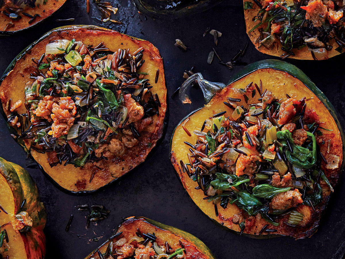 Acorn Squash With Wild Rice Stuffing Recipe Cooking Light