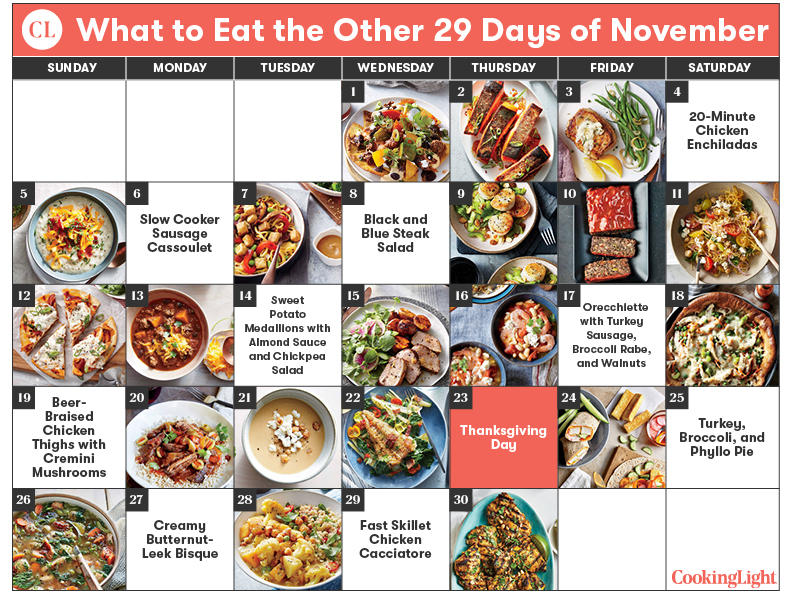 Cooking Light 29 Day November Meal Plan