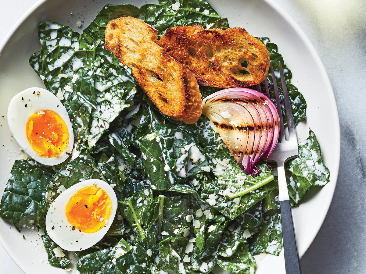 Creamy Kale Caesar Salad with Soft-Boiled Eggs Recipe ...