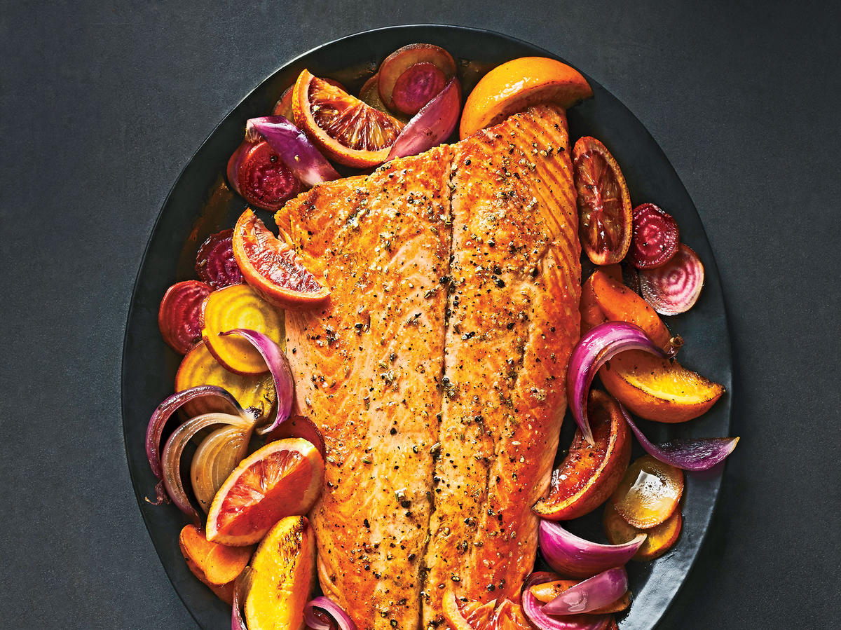Roasted Salmon with Oranges, Beets, and Carrots