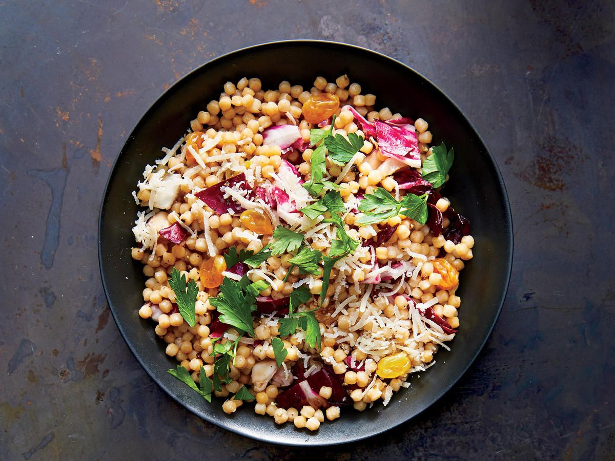Golden Raisin-Charred Radicchio Couscous
