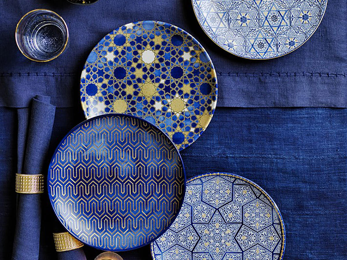 Blue Mosaic Salad Plates, Set of 4