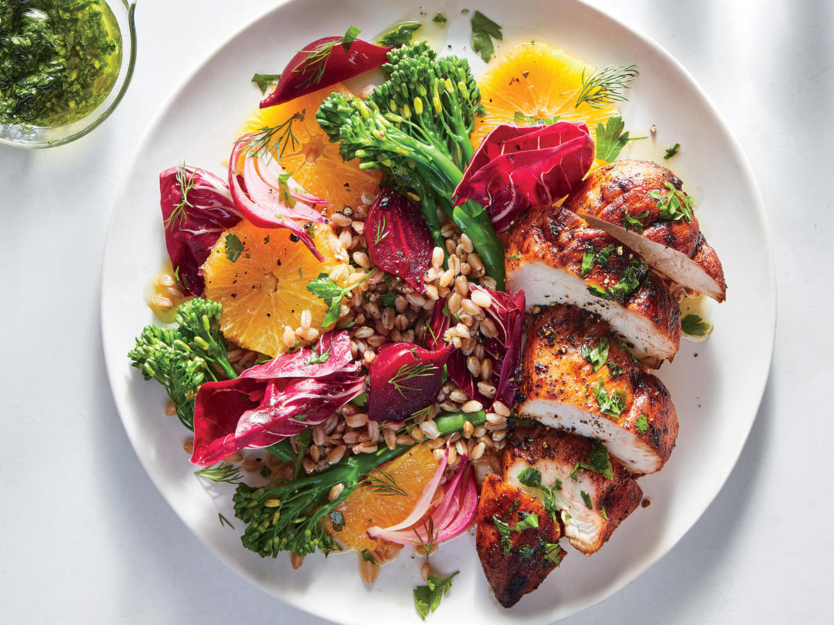 Chicken with Broccolini and Farro-Beet Salad