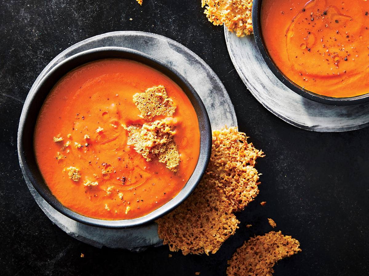 Creamy Tomato Soup with Parmesan Crisps