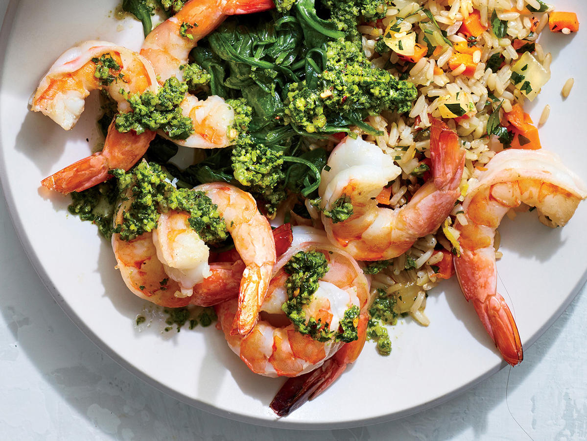 Pan-Seared Shrimp with Walnut and Herb Gremolata
