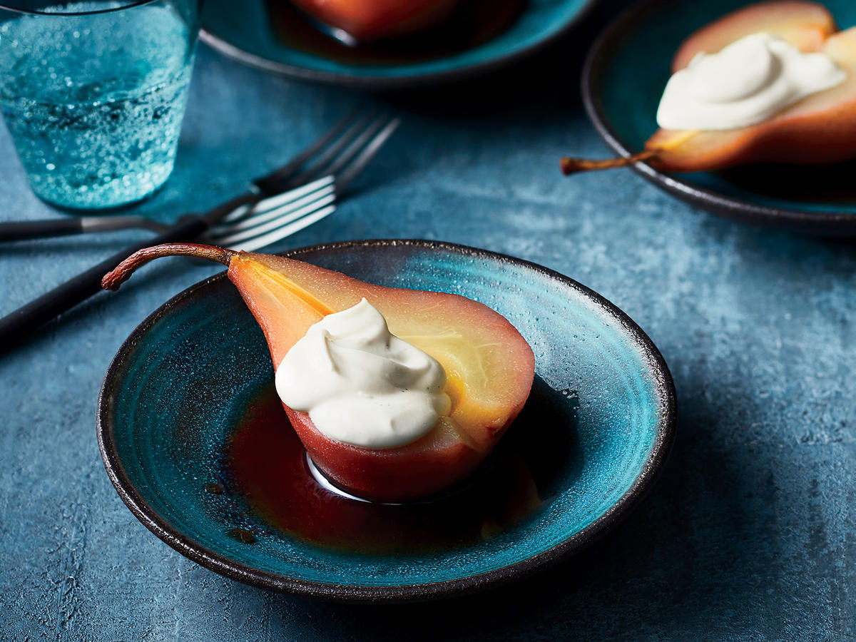 Red Wine–Poached Pears with Cardamom and Vanilla Mascarpone