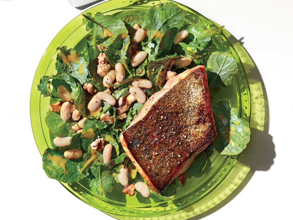 Salmon With Kale, Walnut, and White Bean Salad