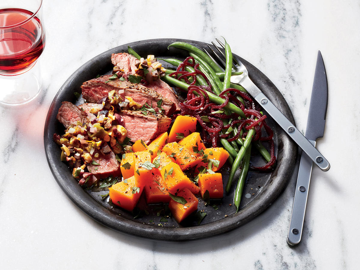 Steak with Mixed Olive Tapenade, Butternut Squash, and Green Beans