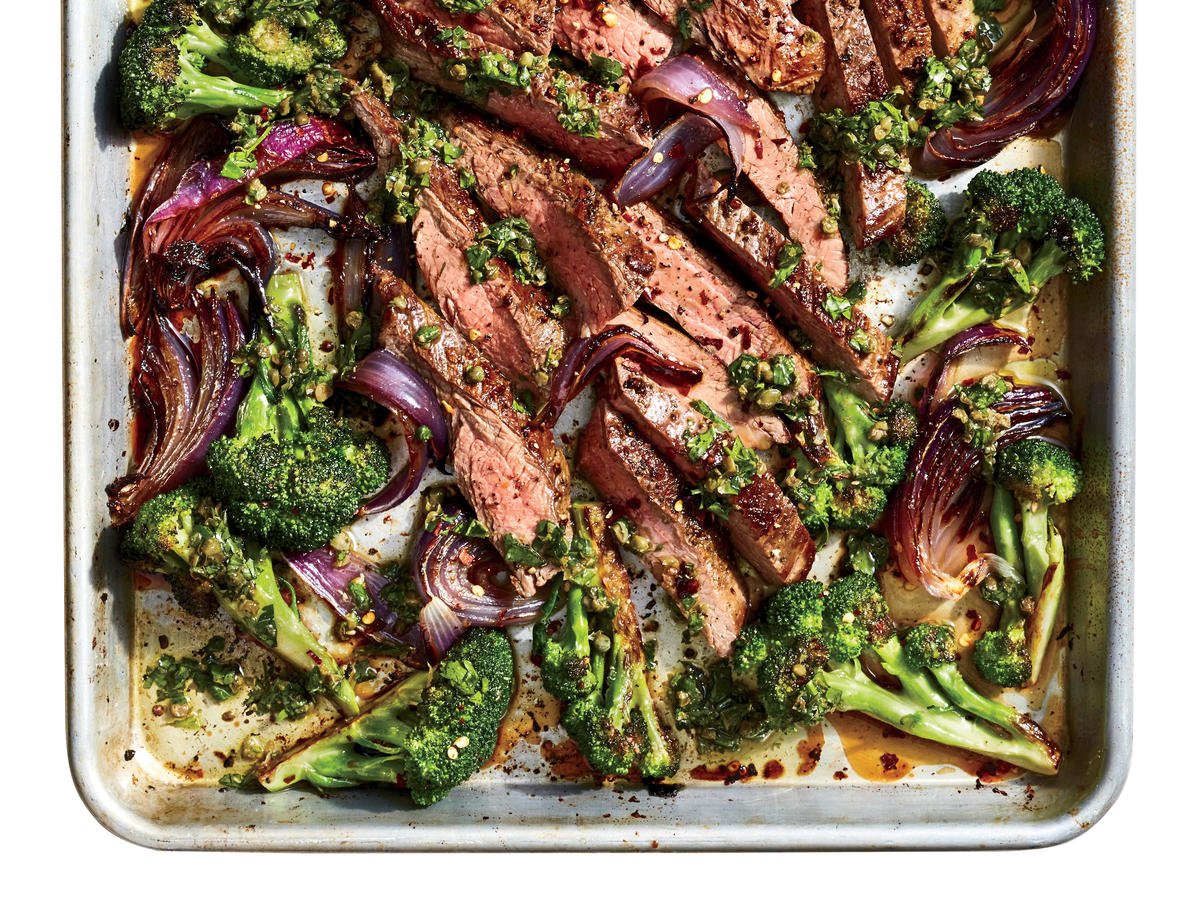 Sheet Pan Flank Steak with Salsa Verde