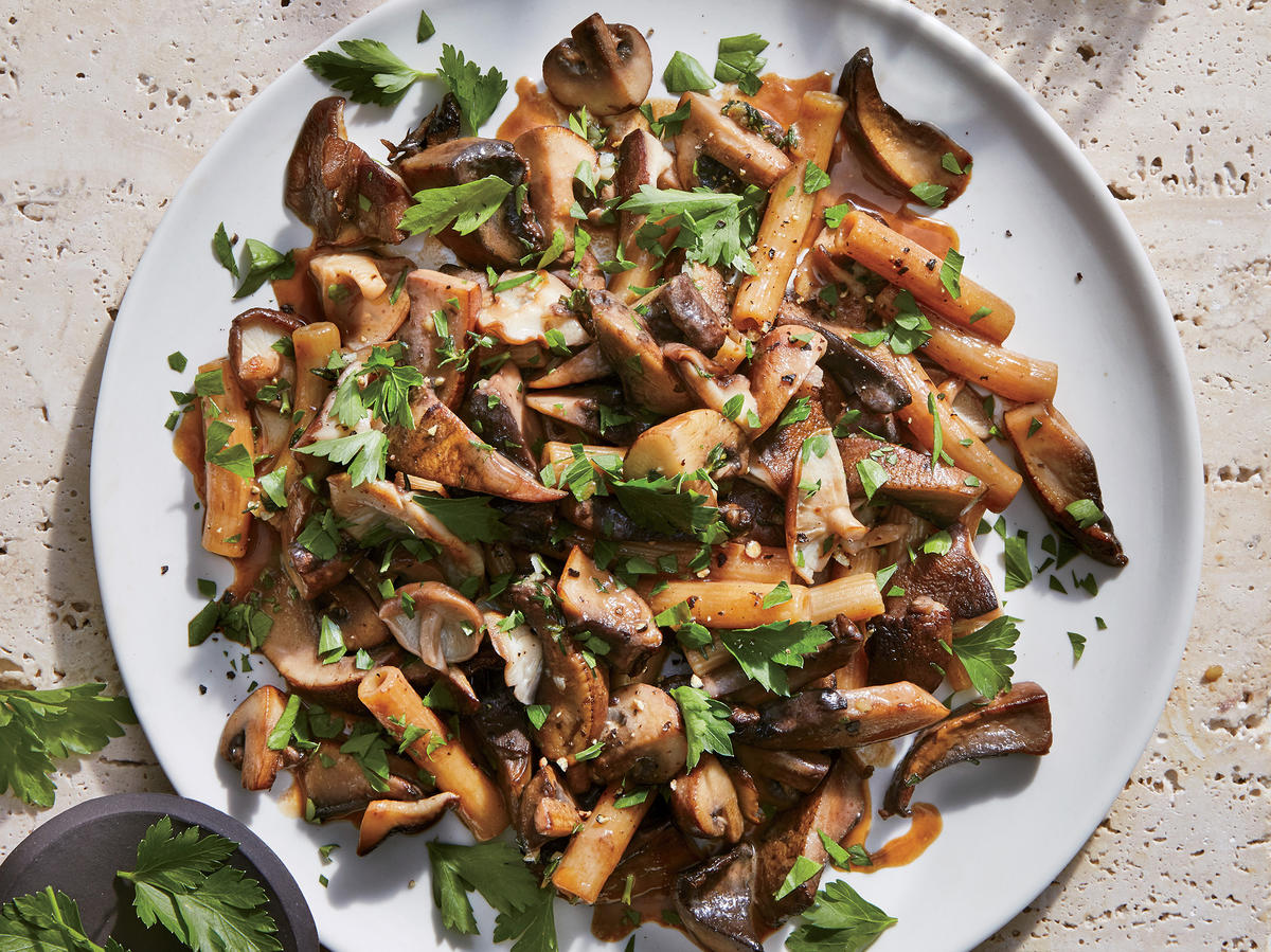 April: Mostly Mushroom Pasta