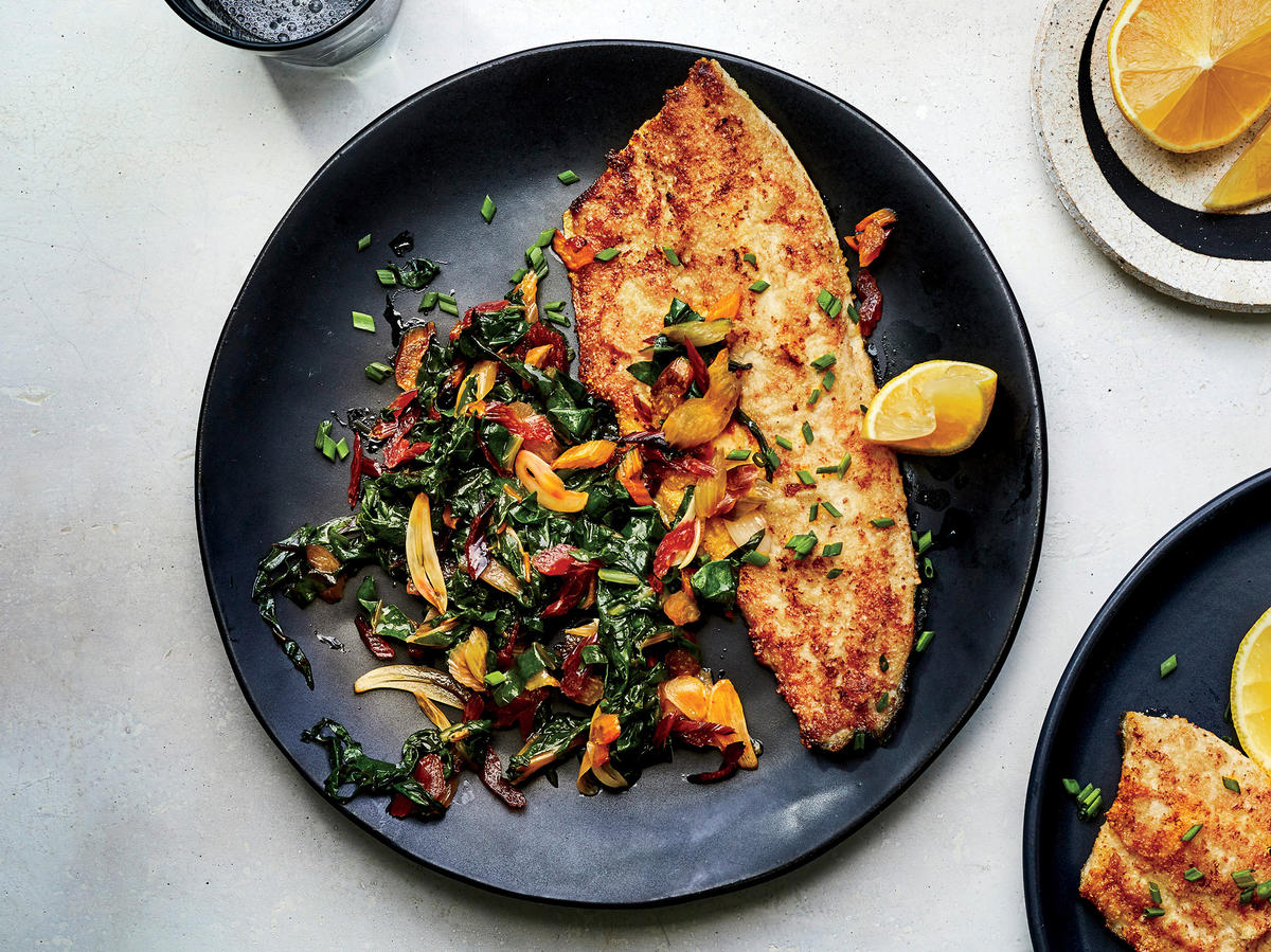 Almond-Crusted Trout With Swiss Chard